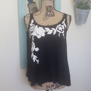 Forever 21 Black & White Floral Tank Top